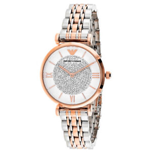 59f3309380d2 EMPORIO ARMANI White Womens Watch CRYSTAL Pave DIAL Silver ROSE GOLD ...
