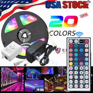5M-RGB-5050-Waterproof-LED-Strip-light-SMD-44-Key-Remote-12V-US-Power-Full-Kit-U