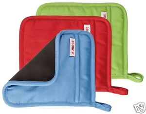 Judge-Silicone-amp-Cotton-Plain-Square-Oven-Pot-Mitt-Holder-Blue-Red-Green-JTE01