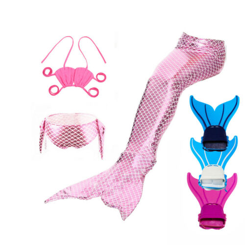 Kids Girl Fairy Mermaid Tail Monofin Flippers Swimmable Tail Swimming Costumes