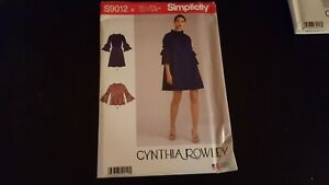 Simplicity Pattern S9012 Cynthia Rowley dress  top sweing pattern XS-XL A