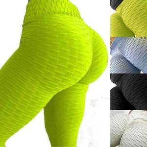 UK Womens Anti-Cellulite Yoga Gym Leggings Solid Fitness Butt Lift Elastic Pants