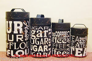 tin canister set rustic vintage retro kitchen coffee shop decor ebay