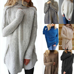 UK Womens Oversized Jumper Ladies Long Sleeve Chunky Knitted Long ...