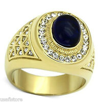 Drak Blue Dome Stone 18kt Gp Stainless Steel Mens Ring