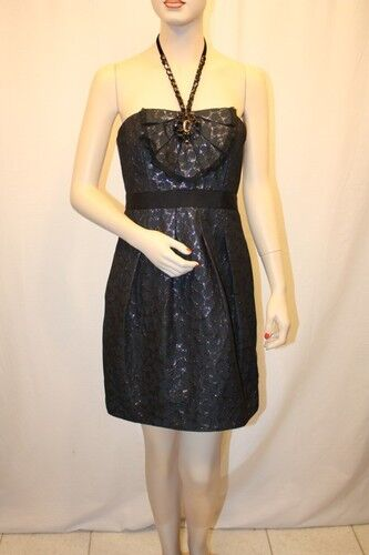 NEW BCBG BCBG BCBG MAX AZRIA INK JACQUARD BEAD EMBELLISHED HALTER DRESS SIZE 6 1920b8