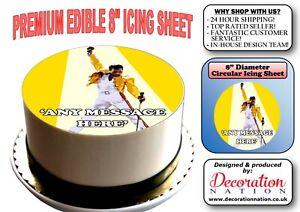 "FREDDIE MERCURY QUEEN  8/"" ICING CAKE TOPPER"