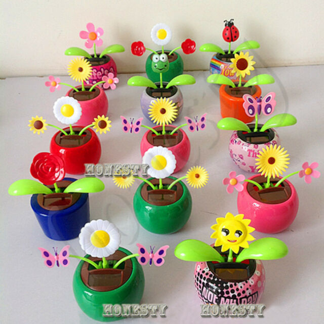 287241541 Solar Power Flip Flap Flower For Car Decoration Swing Dancing Flower Toy  Gift