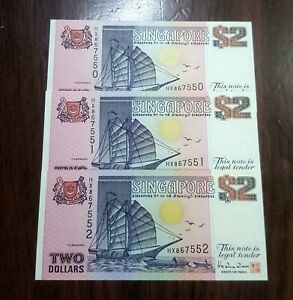Singapore 3rd Ship Series $2 Dollar x 3 Consecutive Number (AU)