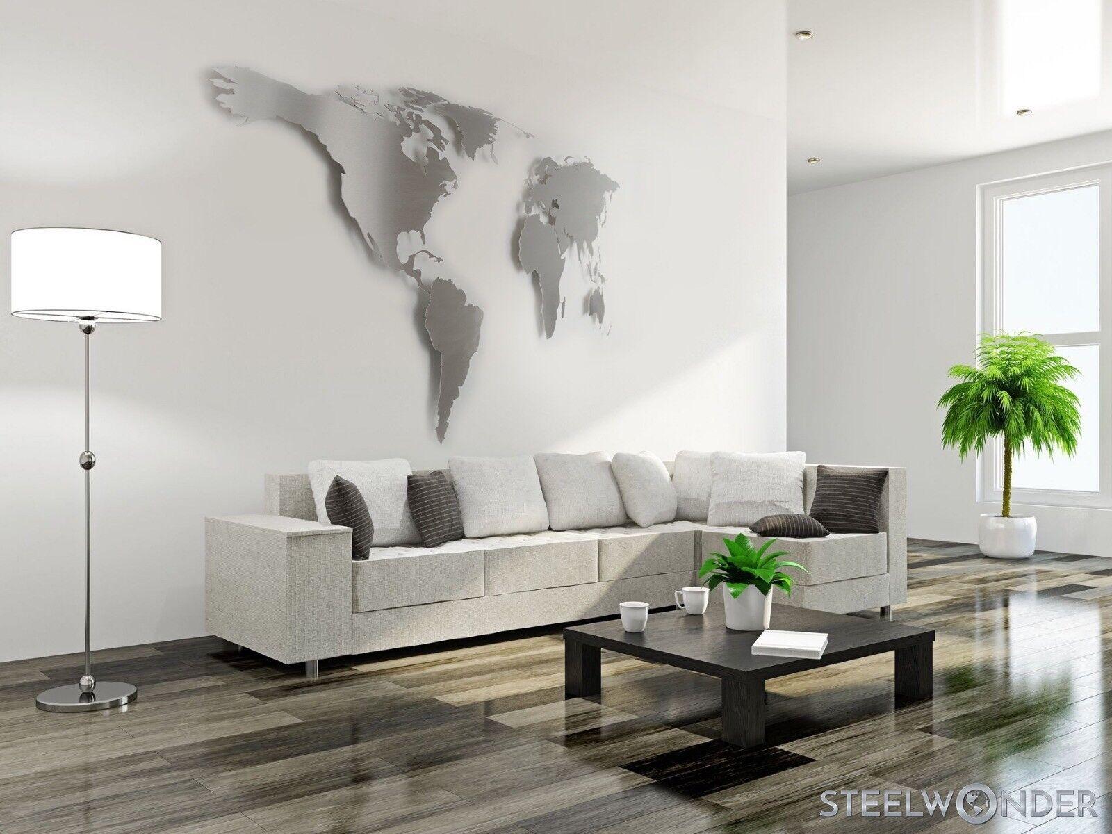 Weltkarte Edelstahl XXL 200x100cm Wandbild Wanddeko Stahl Reisen Urlaub Urlaub Urlaub | Langfristiger Ruf  9712e9