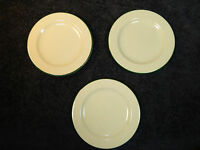 Homer Laughlin Restaurant Ware Lyrica Bread Plates w/Green Trim Set of Three 3