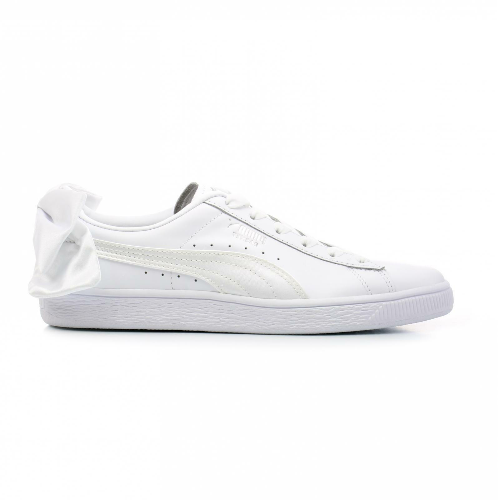 Womens PUMA BASKET BOW White Leather Trainers 367319 01