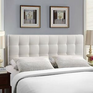 new concept 8fb76 2bce3 Details about Upholstered Tufted Headboard Queen Modern White Vinyl Fabric  Bedroom