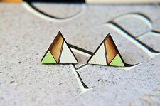 Geometric Pattern Wooden Lasercut triangle Earrings green grey