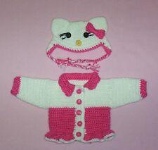 "American Girl Crochet Hot Pink Hello Kitty Sweater & Hat Fits American Girl 18"""