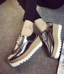 Heel Platform Shoes Lace Up Patent