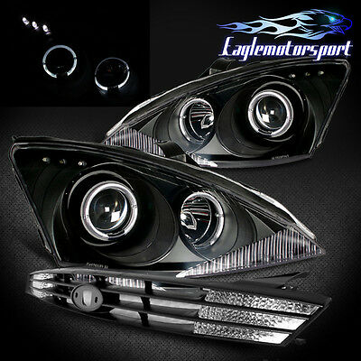 DUAL HALO RING PROJECTOR LED BLACK HEADLIGHTS 2000-2004 FORD FOCUS +BLACK GRILLE