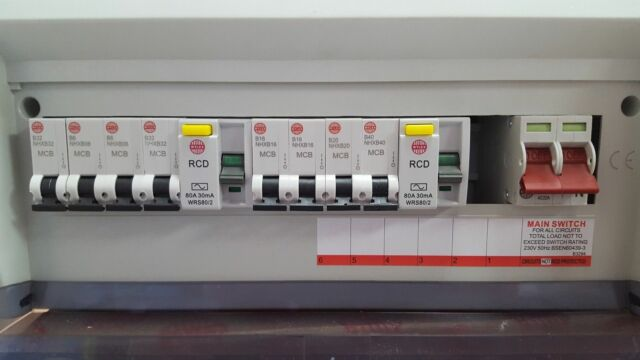18th Edition 8 14 Usable Way Metal Consumer Unit Fuseboard RCD Surge Protection