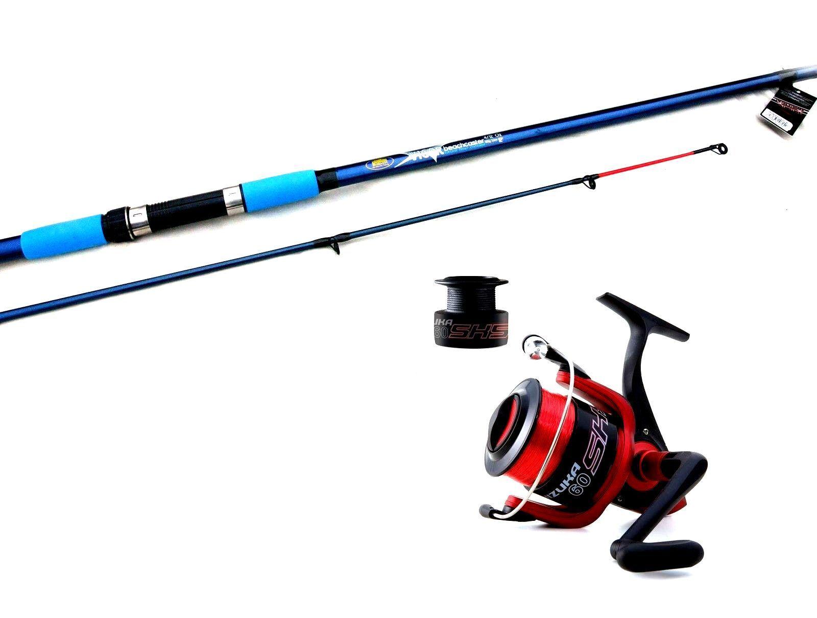 Lineaeffe Vigor Beachcaster rod 12ft 3.6mtr 4-8oz & SK 070 Fishing Reel & Line