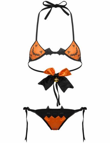 US Women Halloween Cosplay Costumes Devil Bikini Lingerie Set Fancy Dress Outfit