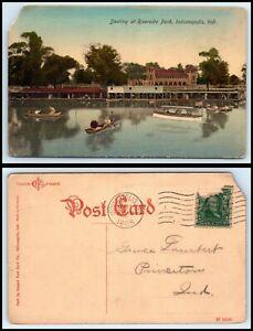 INDIANA-Postcard-Indianapolis-Boating-At-Riverside-Park-A3