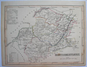 1840s-ENGLISH-COUNTY-MAP-MONTGOMERYSHIRE-NORTH-WALES