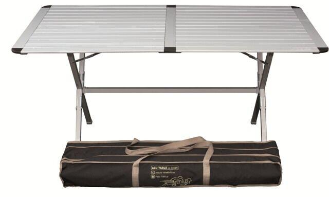 Tavolo da campeggio in alluminio con piano arrotolabile Genius 150x80 cm Konko
