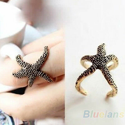 Women's Vintage Punk Style Bronze Sea Animal Exaggerated Starfish Open Ring B57U