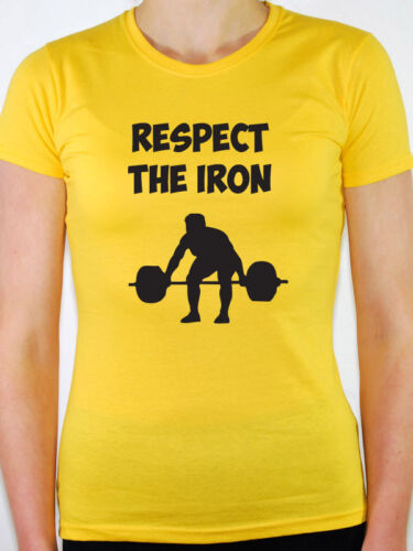 Weight Lifting RESPECT THE IRON Novelty  Themed Womens T-Shirt Fitness