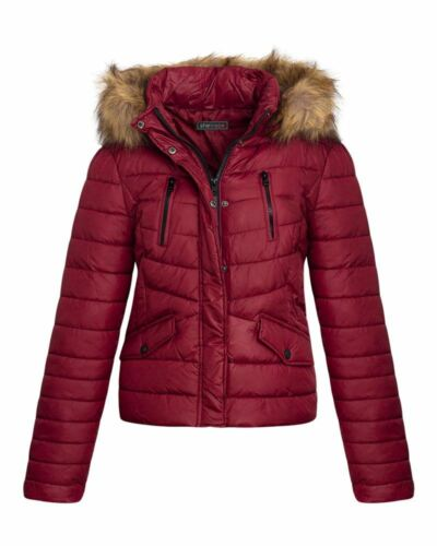 Womens Quilted Padded Faux Fur Detachable Hooded Warm Winter Ladies Jacket Coat
