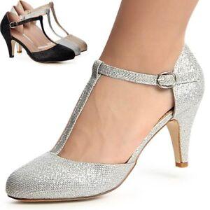 Damenschuhe-Glitzer-Pumps-Riemchen-High-Heels-Absatzschuhe-Party-Hochzeit-Trendy