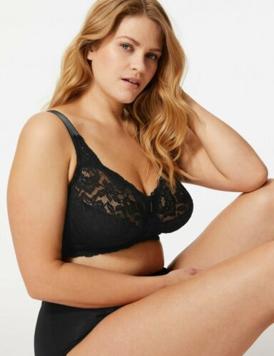 40C  MARKS /& SPENCERS BLACK TOTAL SUPPORT ALL OVER LACE NON WIRE  BRA  NEW