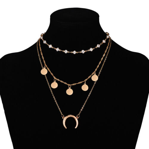 Femmes 3 Multi Couches Pendentif Collier Long Or Ruban Moon Star Crystal S