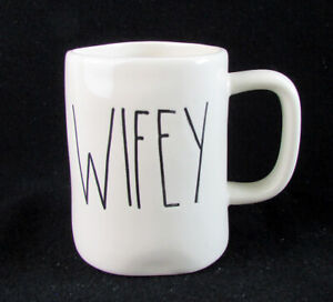 """Rae Dunn Artisan Collection by Magenta """"WIFEY"""" White W/ Black Letters Large Mug"""