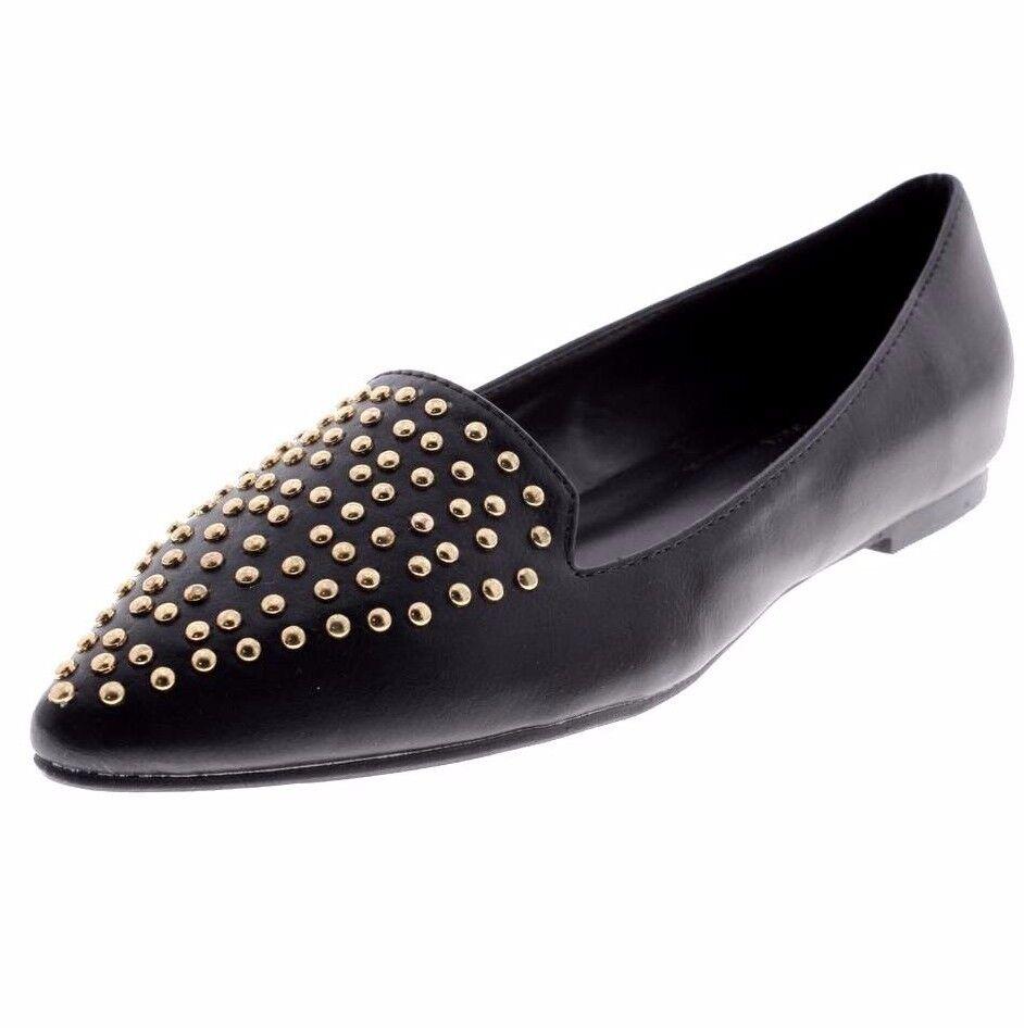Versace1969 ITALIA 'Gemma' 19V69 Black Loafers Flat gold Tone Studs shoes New
