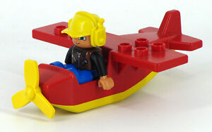 Vintage-LEGO-Duplo-Aeroplane-with-Small-Figure-Yellow-Red