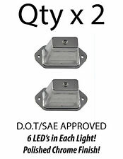 HEAVY DUTY LICENSE PLATE 6 LED LIGHT BOAT TRAILER RV TRUCK ATV - CHROME - QTY 2