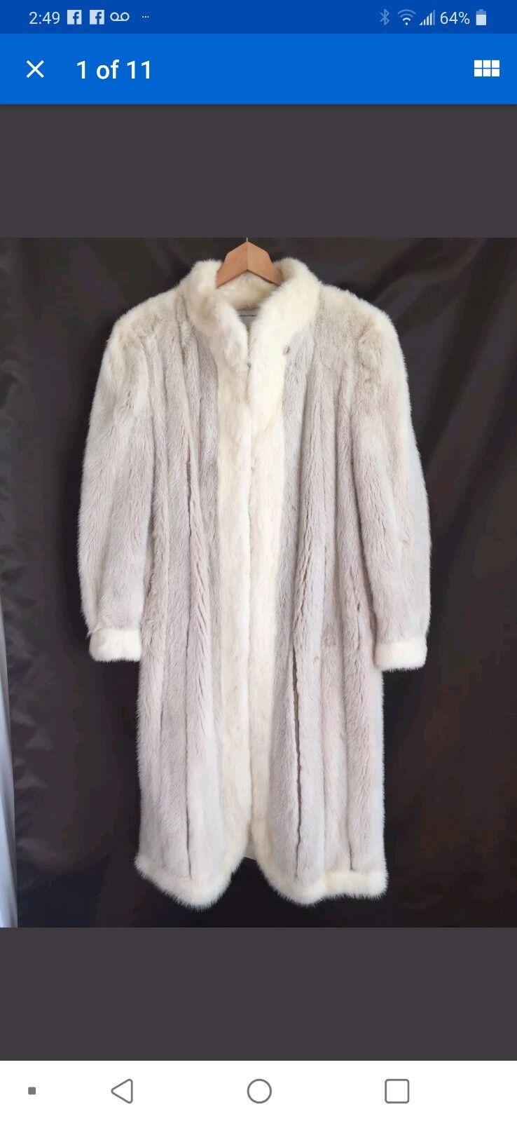 Woodward & Lothrup Ivory & White Long Mink Coat L