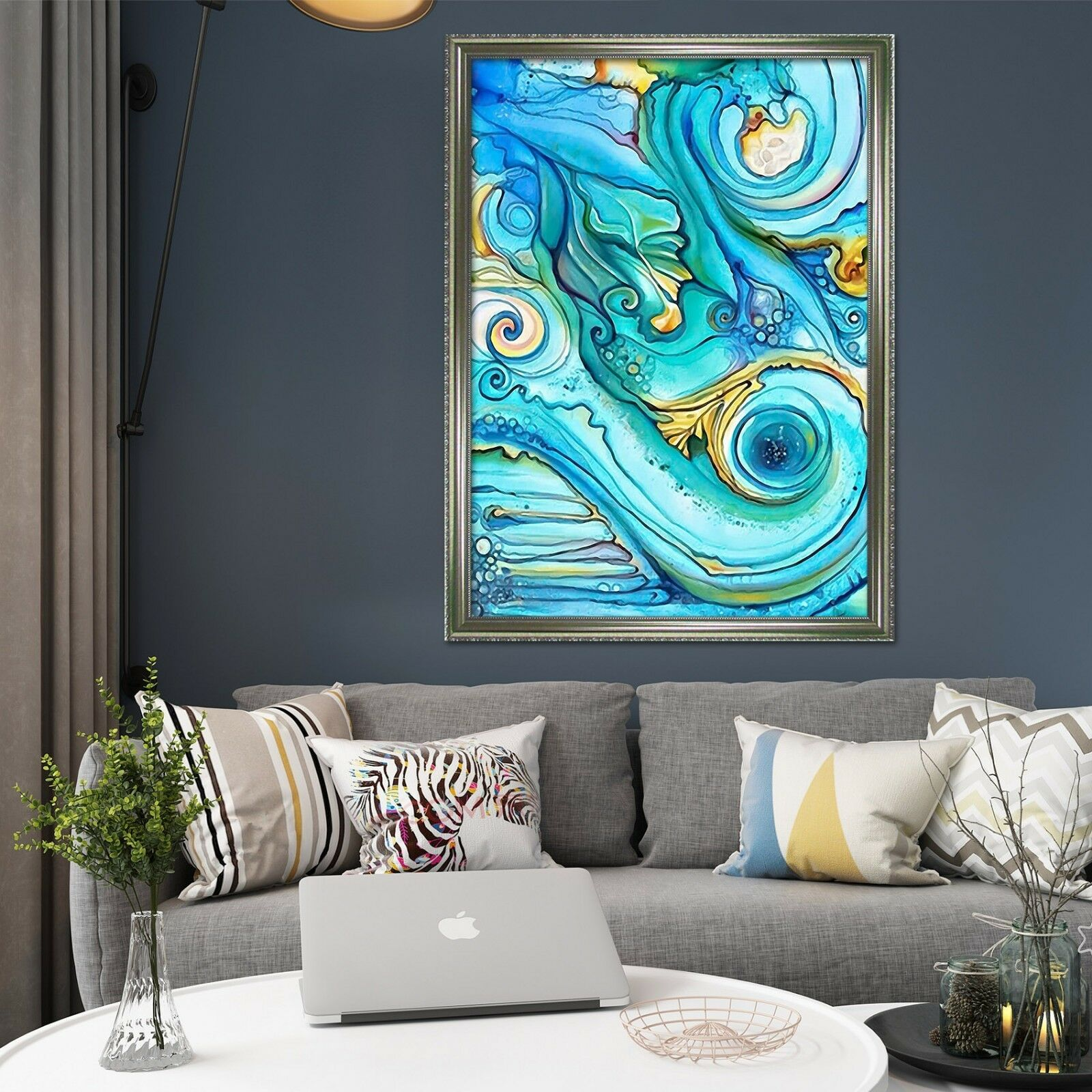 3D Blau Art Painting 8 Framed Poster Home Decor Print Painting Art AJ WALLPAPER