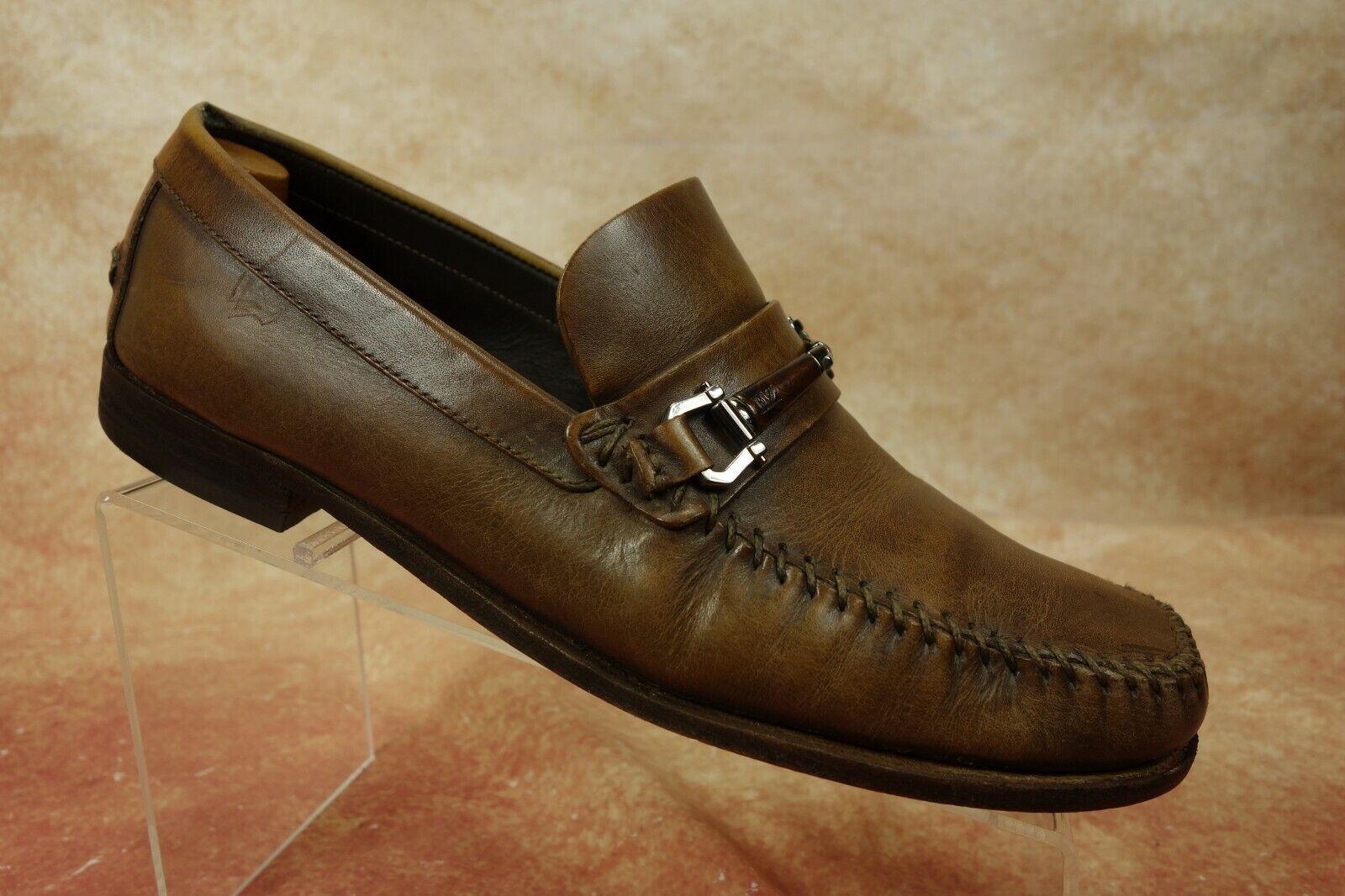 Ermenegildo Zegna Brown Leather Moc Toe Slip On Horsebit Loafers Mens Size 8.5US