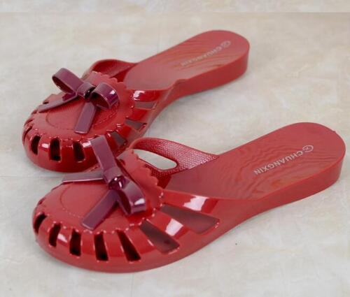 Womens Jelly Bow Knot Slippers Beach Sandals Hollow Up Summer Round Toe Shoes