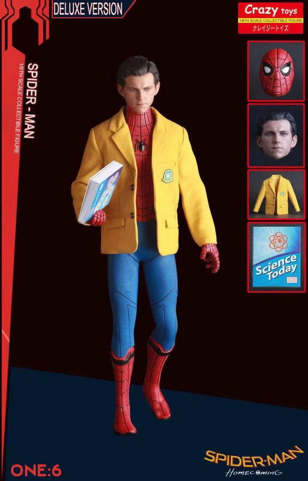 1 6TH SPIDER  uomo HOMECOMING 12'' DELUXE VERSION BY CRAZY giocattoli bambola STATUE GIFT  nuovo di marca