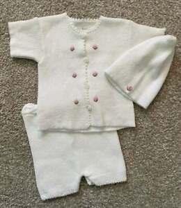 Baby's Trousseau Infant Baby Girl Sweet Knit Set Hat Sz3m NWOT