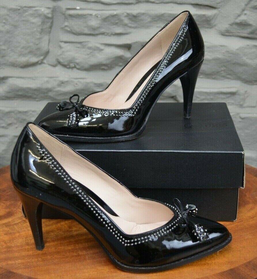 Womens Clarks Deeta Bombay Heeled Court Shoes, Black Patent Leather, Size UK6.5