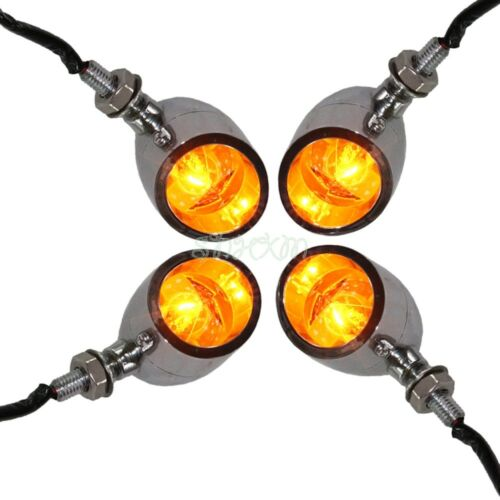4X Chrome Amber Motorcycle LED Turn Signal Light Indicator Blinker Custom Parts