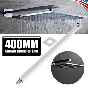"16/"" 40cm Stainless Steel Square Rainfall Shower Head Wall Mounted Extension Arm"