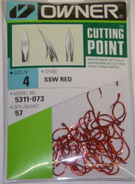 OWNER HOOKS SSW ALL PURPOSE BAIT 5311-073 SZ 4 QTY 57 RED STEELHEAD SALMON