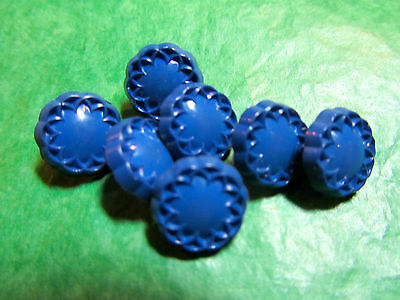 "(7)  1/2"" DECORATIVE EDGE BLUE PLASTIC SHANK BUTTONS VINTAGE LOT (NL596)"