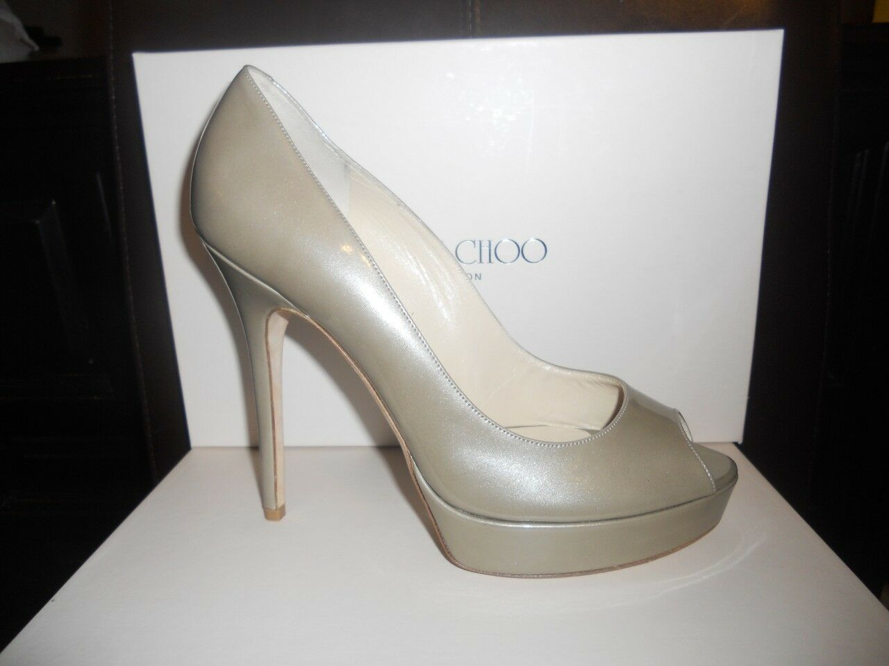 Jimmy Choo CROWN Enamel Patent Leather Open Toe Platform Heels Pumps shoes 40
