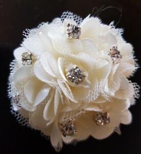Ivory-Diamante-Girls-5cm-satin-amp-net-Flower-Hair-Clip-brooch-Bridemaids-etc